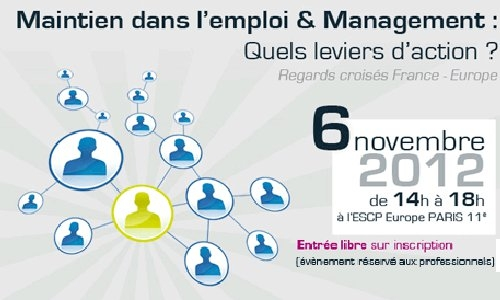 affiche de la conference intitulé maintien dans l'emploi et management regards croises france europe