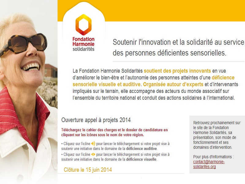 Page acceuil site Fondation Harmonie Mutuelle