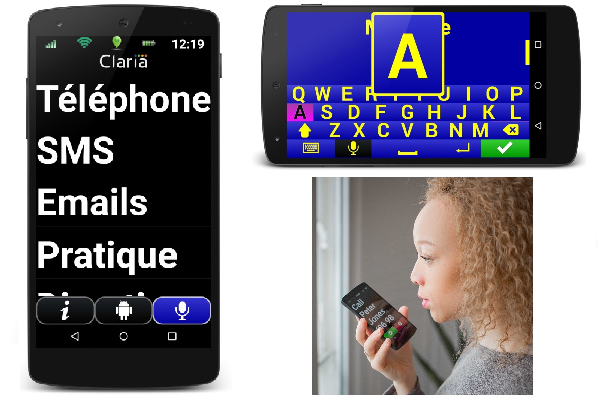 Nouveau systheme accessibilite deficients visiuels pour telephone portable Claria Zoom